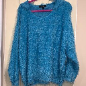 Paper heart blue fuzzy hoodie